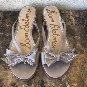 Sam Edelman Dariel Studded Grey Bow Sandals Sz 8.5